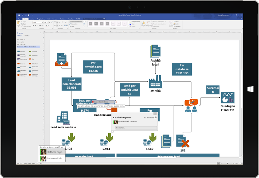 Tablet Surface che visualizza la collaborazione in un diagramma di Visio, con i commenti di un utente sullo schermo