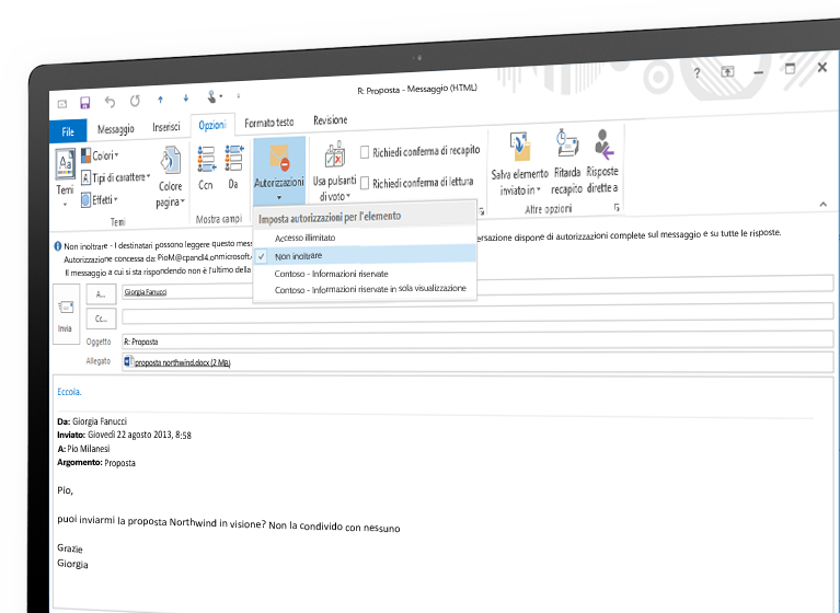 Monitor che visualizza un'e-mail crittografata con Microsoft Azure Rights Management.
