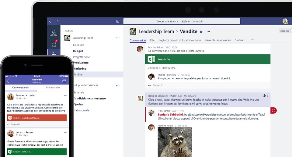 Fotografia dello schermo di Teams su dispositivo mobile e laptop