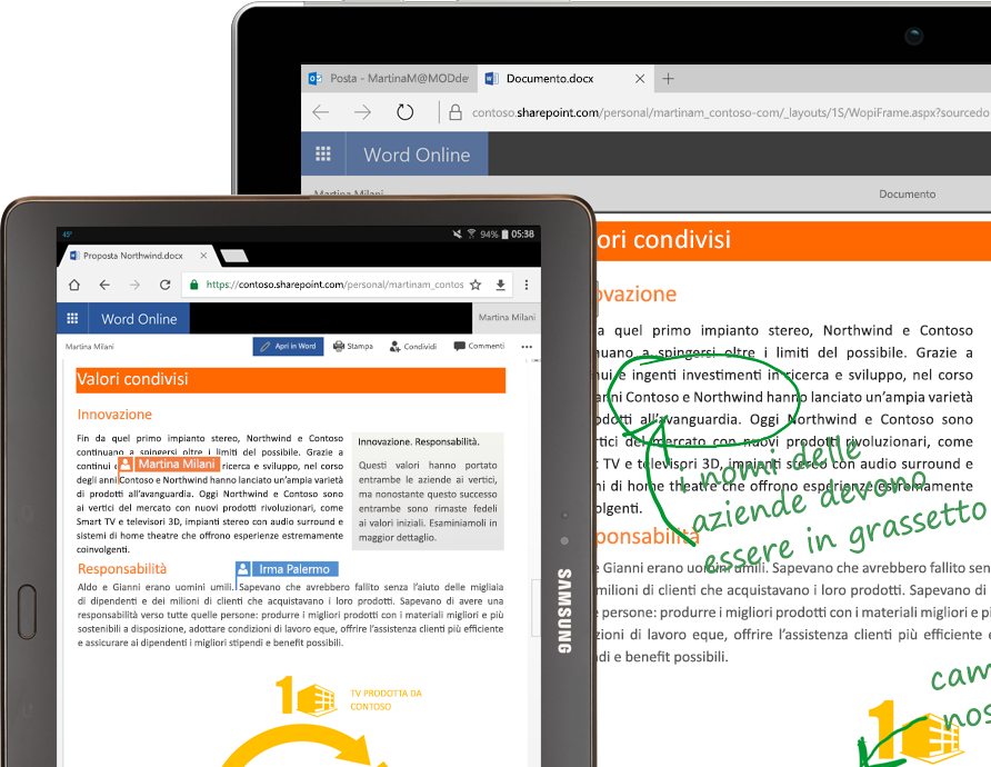 Laptop e tablet che eseguono Word online