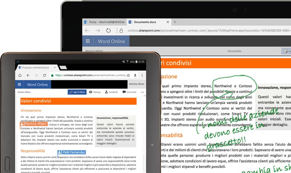 Computer portatile e tablet che eseguono Word online