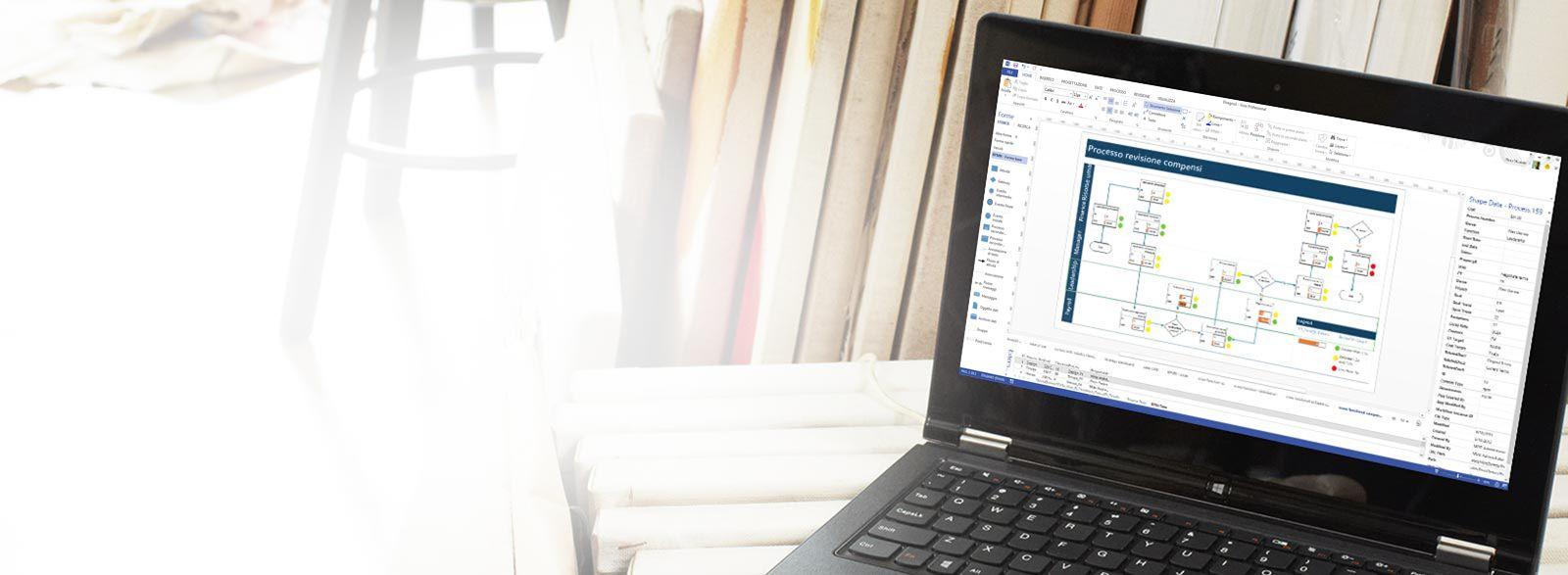 Portatile con Visio Pro per Office 365 in uso.