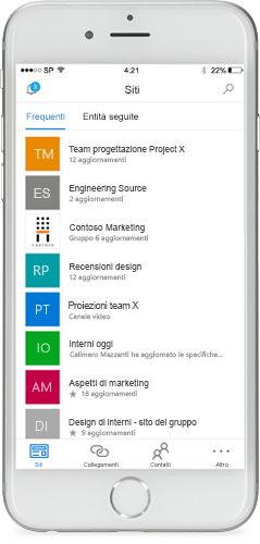 Screenshot di SharePoint in un dispositivo mobile.