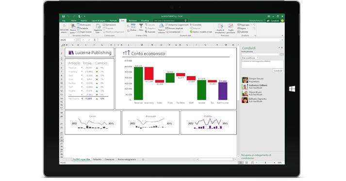 La pagina Condividi di Excel, con l'opzione Invita persone selezionata.
