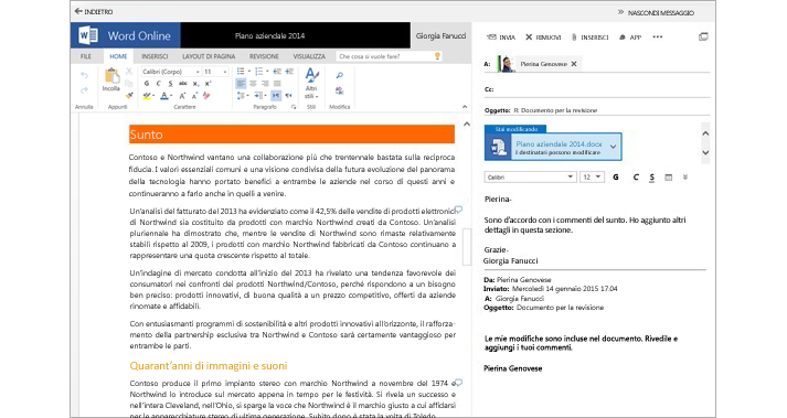 Messaggio e-mail visualizzato accanto al riquadro di anteprima di un documento allegato con Word Online