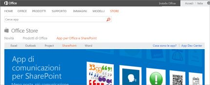 Screenshot della pagina delle app di SharePoint in Office Store.