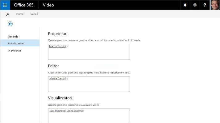 Screenshot della pagina Gestione portale video in Office 365 Video.