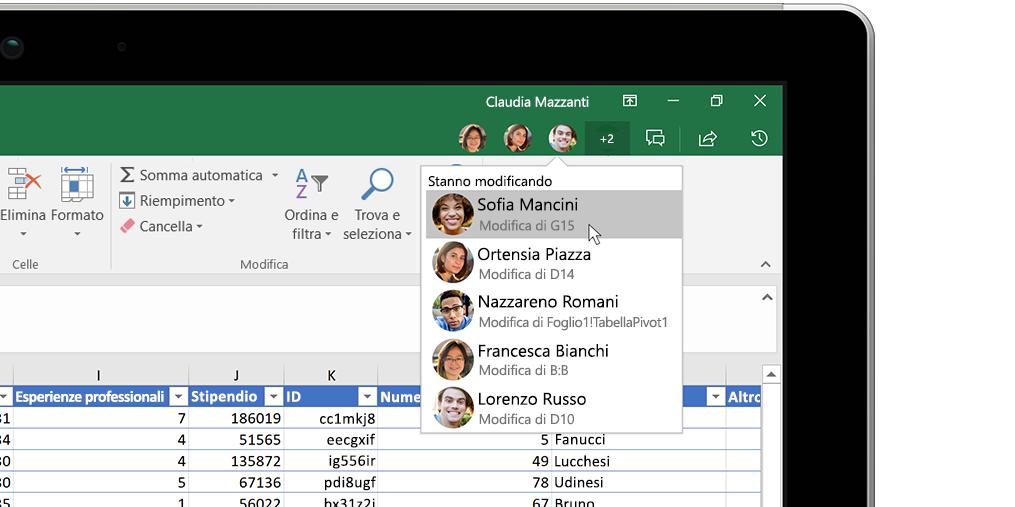 Cartella di lavoro di Excel con la finestra Insights a destra