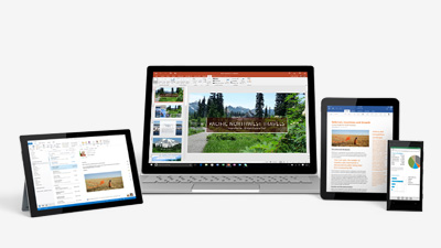 PowerPoint su un tablet Surface, un laptop Windows, un iPad e un telefono Windows