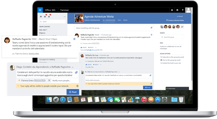 A laptop screen showing a conversation with coworkers and external partners in Yammer