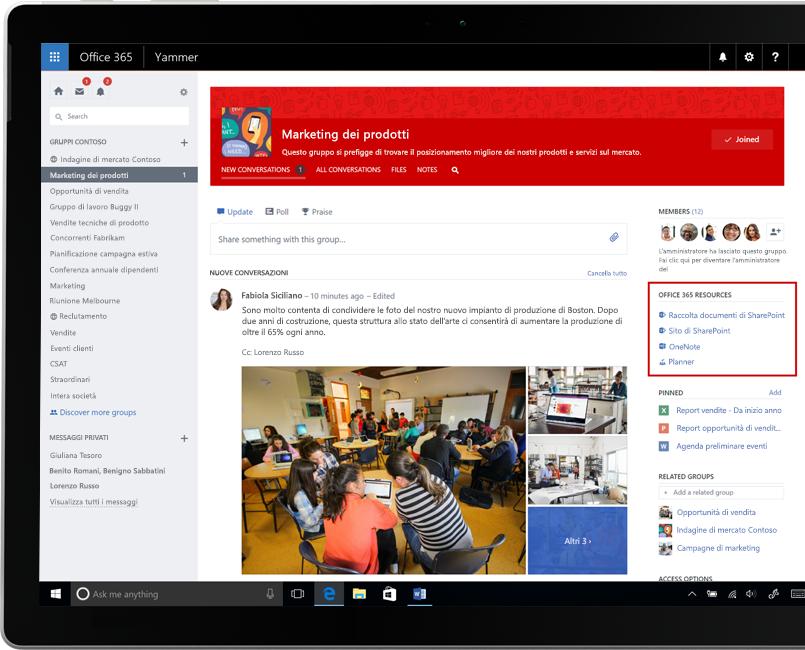Yammer su un portatile con l'integrazione dei gruppi di Office 365