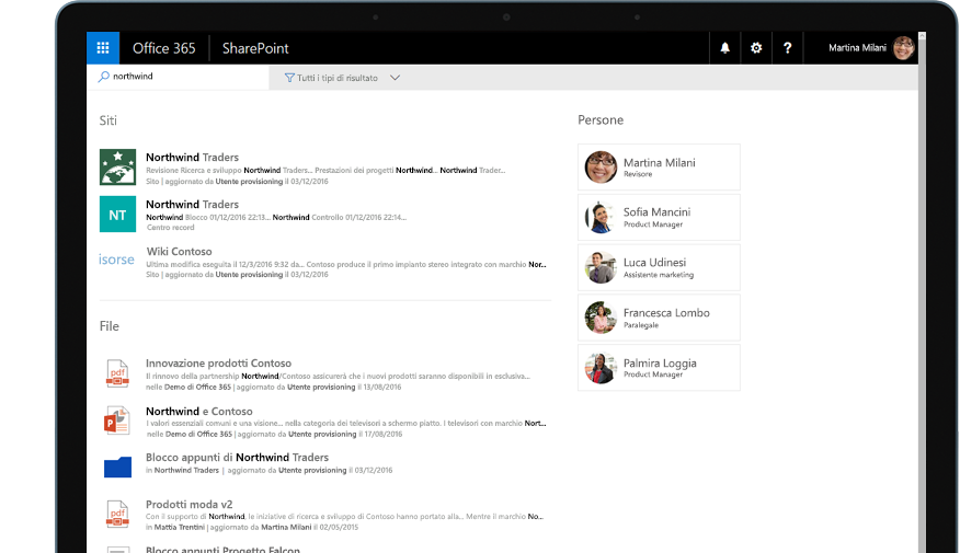 Yammer e SharePoint su un tablet