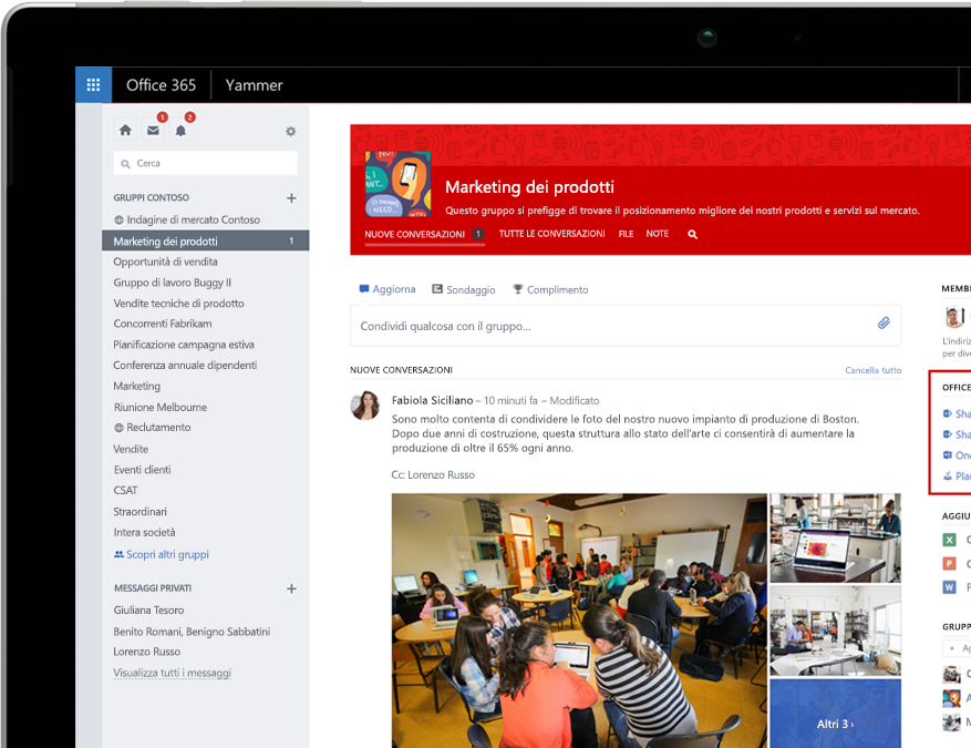 Yammer su un laptop con l'integrazione dei gruppi di Office 365