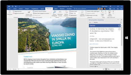 Schermo di tablet che visualizza lo Strumento ricerche Word usato in un documento sui viaggi zaino in spalla in Europa, scopri come creare documenti con gli strumenti integrati di Office