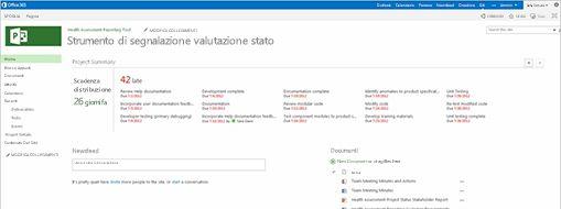 Schermata di Microsoft Project
