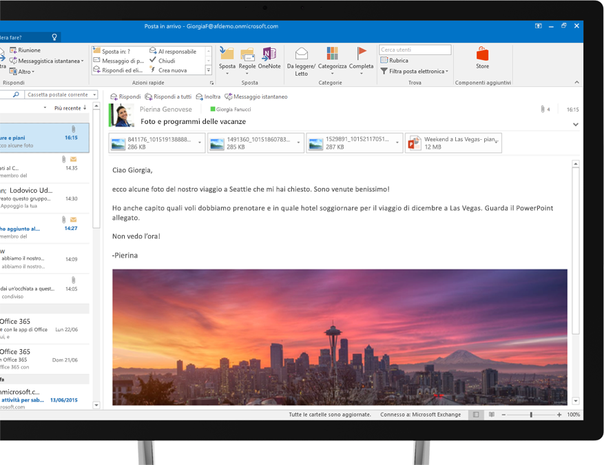 Messaggio e-mail di Office 365 che visualizza un'immagine incorporata del panorama di Seattle