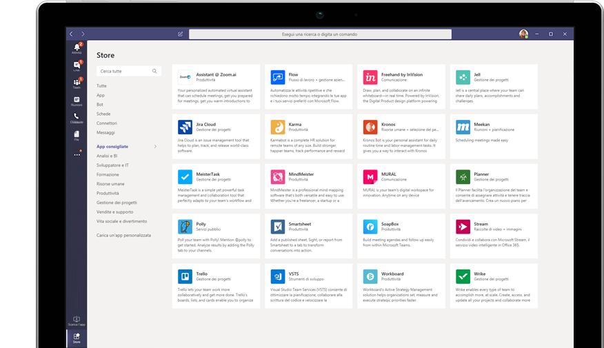 App di Microsoft Store visualizzate in Teams