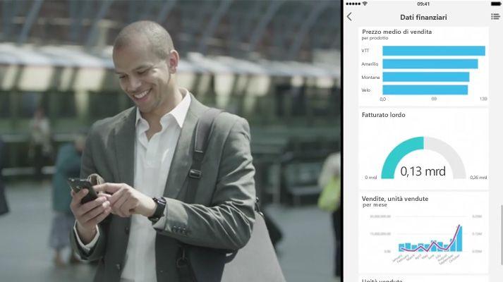 Uomo che guarda il cellulare mentre cammina, con lo schermo diviso che visualizza un dashboard dei dati.