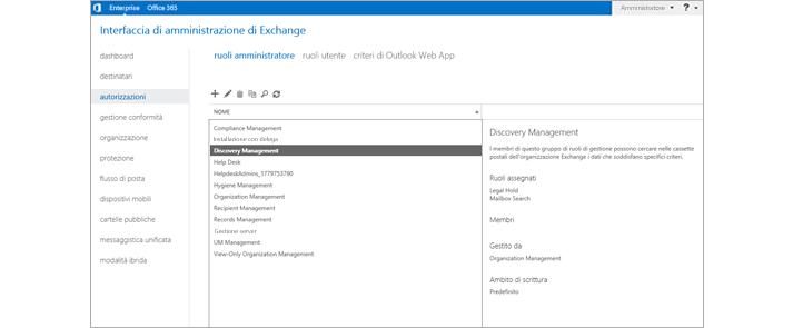 Pagina delle autorizzazioni nell'interfaccia di amministrazione di Exchange, dove puoi gestire i ruoli di amministratore