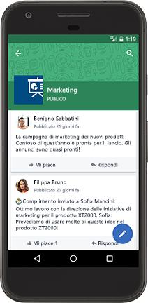 Telefono Android con una conversazione di Yammer