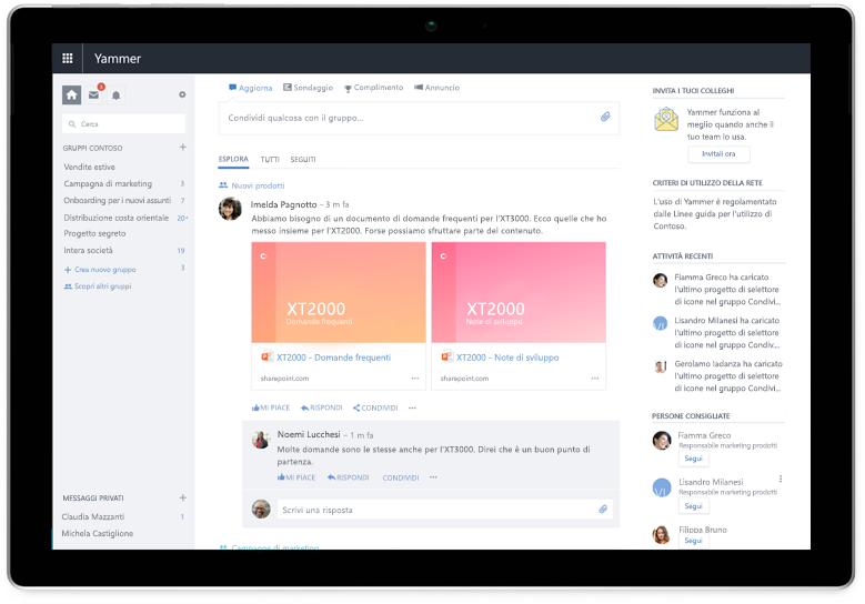 Tablet Surface che visualizza il feed Esplora di Yammer