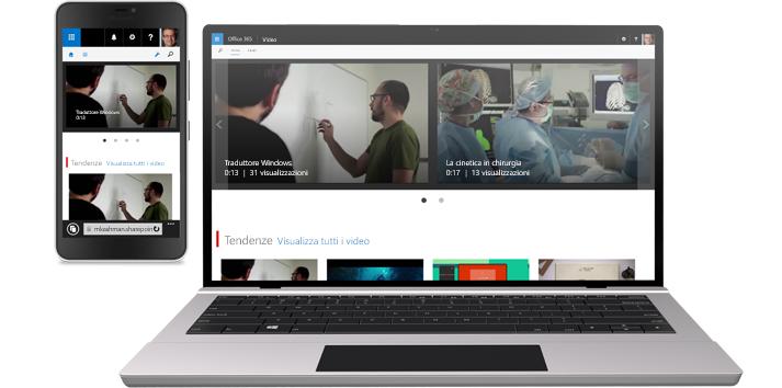 Telefono che mostra un video e tablet che visualizza una raccolta di video in Office 365 Video.