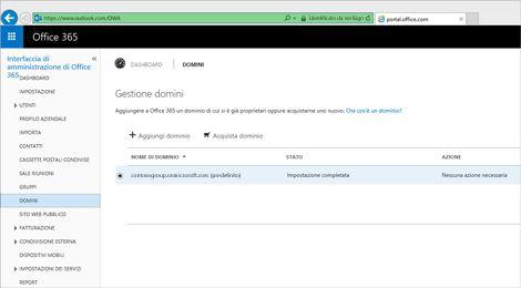 Primo piano di una pagina dell'interfaccia di amministrazione di Office 365 dove si gestisce Exchange Online Protection.