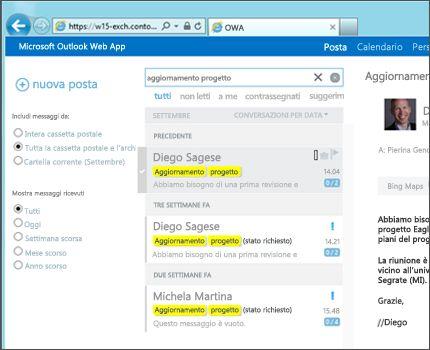 Dettaglio della cartella Posta in arrivo di un utente in Outlook Web App.