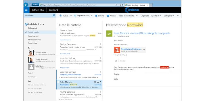 Primo piano della posta in arrivo di un utente in Outlook Web App.