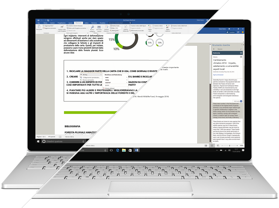 Screenshot di Strumento ricerche ed Editor in Microsoft Word