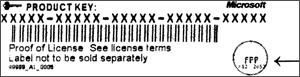 Codice Product Key per la versione in lingua inglese