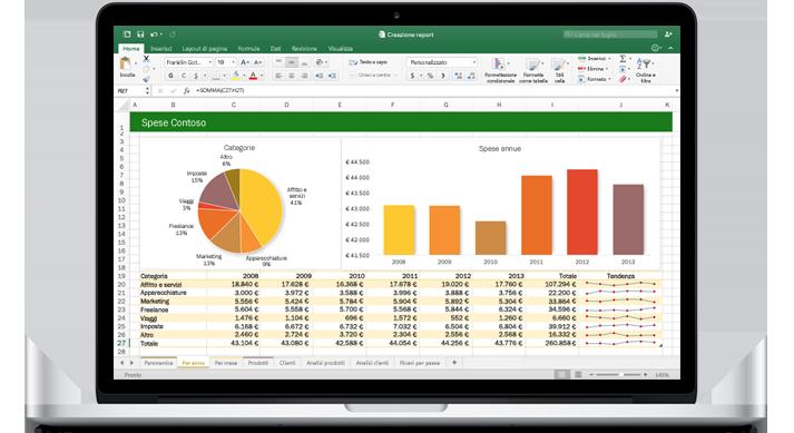 MacBook che visualizza un foglio di calcolo di Excel per Mac con grafici