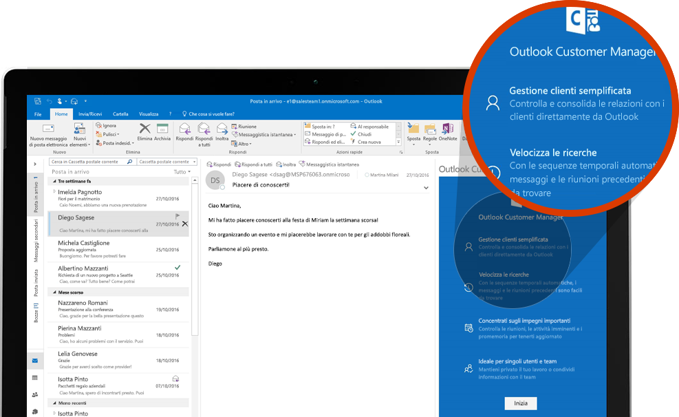 Schermo di computer che visualizza una sezione ingrandita di Outlook Customer Manager in Outlook