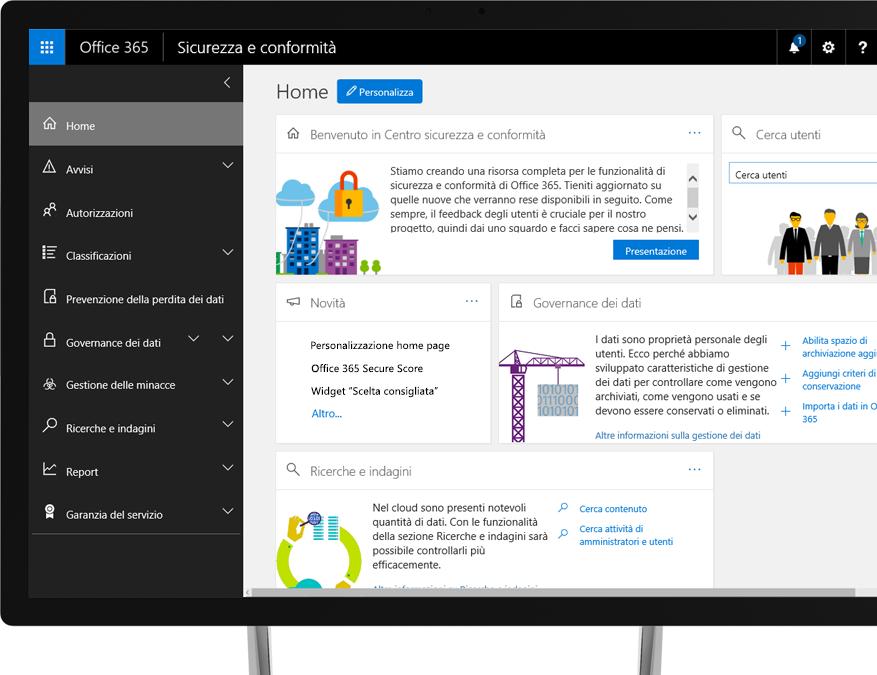 Centro sicurezza e conformità di Office 365 sul monitor di un desktop Windows