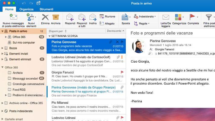 Screenshot della posta in arrivo di Microsoft Outlook 2016 con un elenco di messaggi e l'anteprima.