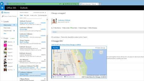 Primo piano della posta in arrivo di un utente in Outlook Web App basato su Exchange.