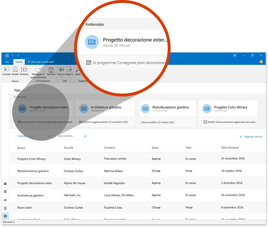 Immagine di Outlook con una sezione ingrandita che mostra una trattativa in Outlook Customer Manager