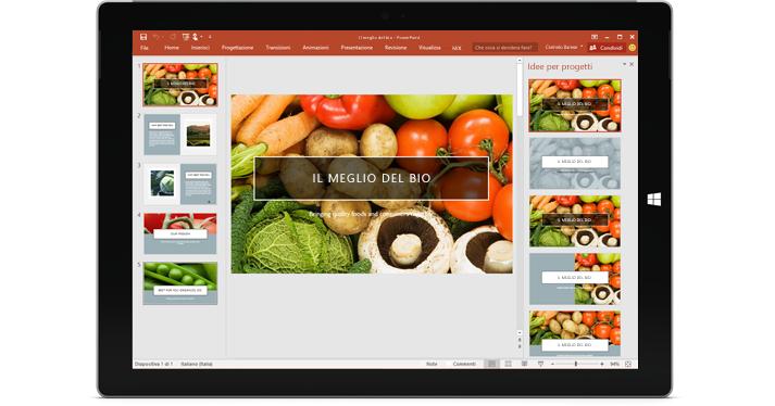 Tablet con la caratteristica Designer visualizzata nella diapositiva di una presentazione di PowerPoint.