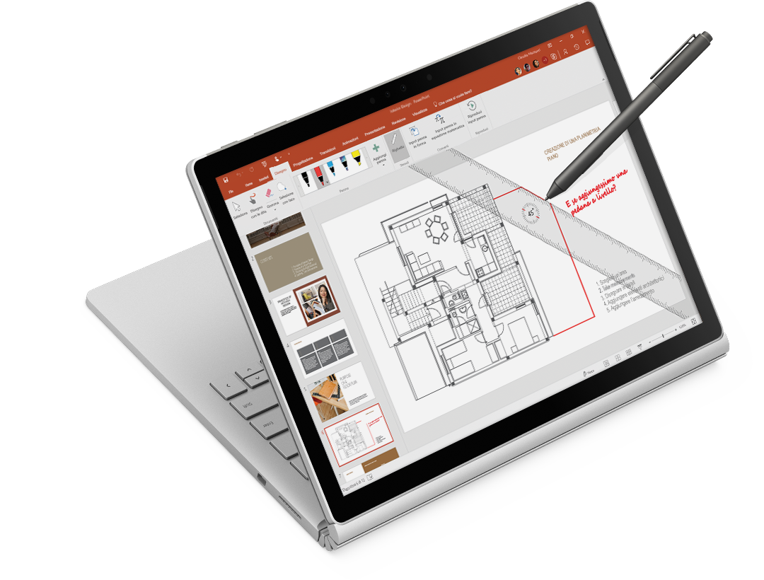 Righello e input penna su un disegno di architettura su un tablet Surface