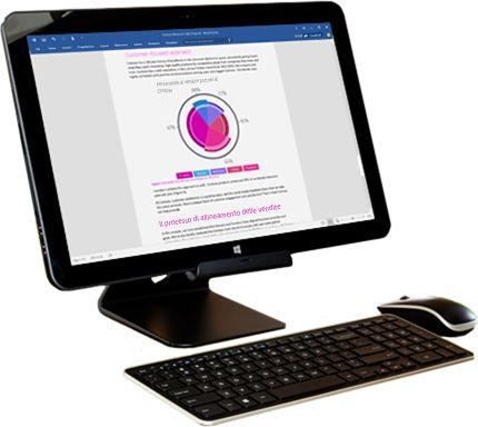 Monitor di PC che visualizza le opzioni di condivisione di Microsoft Word.