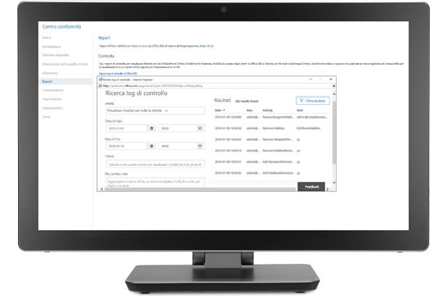 Monitor che visualizza una finestra di ricerca di log di controllo nel Centro conformità