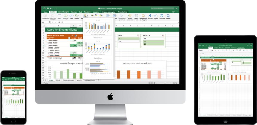 iPhone, monitor del Mac e iPad con il nuovo Excel per Mac in uso.