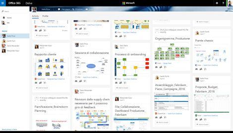 Screenshot di una raccolta di diagrammi di Visio in Delve in Office 365.