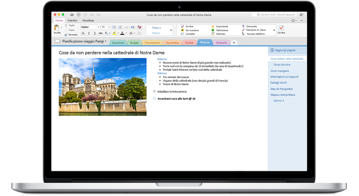 MacBook che visualizza un blocco appunti aperto in OneNote per Mac.