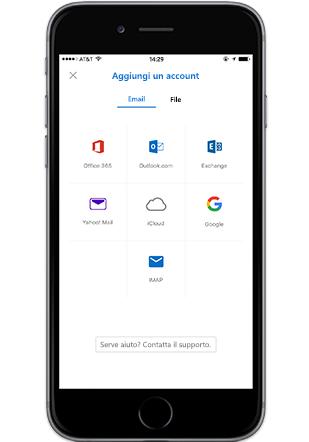 Smartphone che visualizza la schermata Aggiungi account in Outlook Mobile