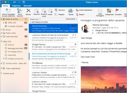 Screenshot della posta in arrivo di Microsoft Outlook 2013 con un elenco di messaggi e l'anteprima.
