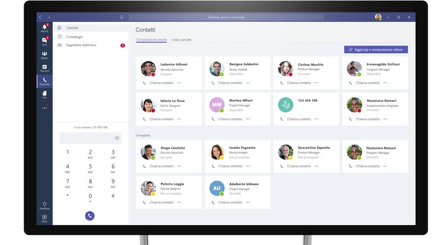 Chiamata effettuata in Microsoft Teams visualizzata su un computer desktop