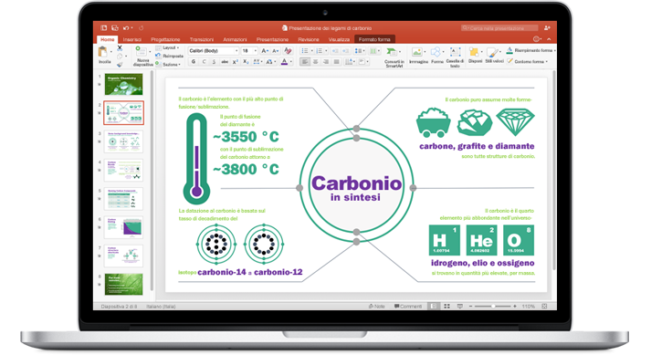 MacBook con una presentazione del nuovo PowerPoint per Mac.