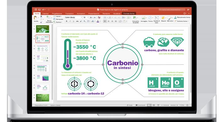 MacBook che visualizza una presentazione di PowerPoint per Mac.