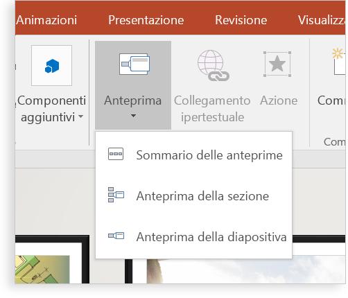 Tablet che visualizza una diapositiva di PowerPoint con Anteprima